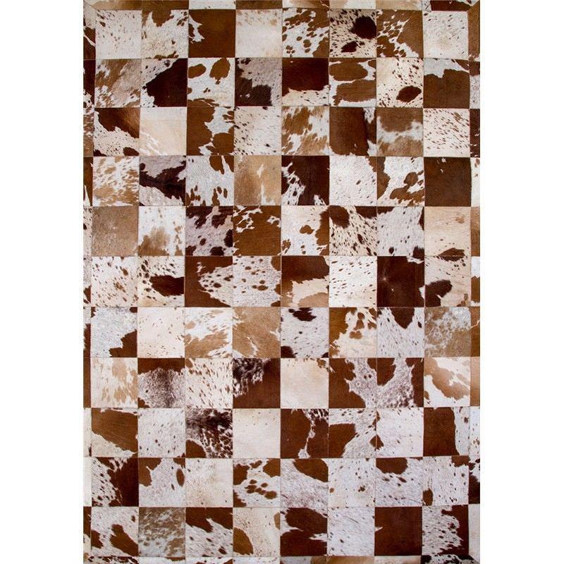 Lorenzen Cow Hide Patchwork 160x230cm Rug - Brown/White