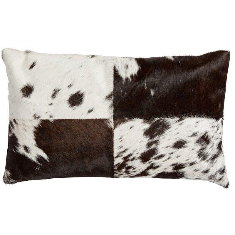 Lorenzen Cow Hide Lumbar Cushion,  Black / White
