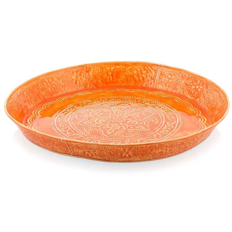 Walden Medium Ceramic Finished Galvanised Metal Plate - Orange