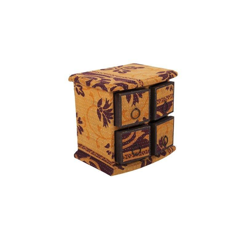 4 Draw Woodand Recycled Fabric Box- L: 21cm W:15cm  H:20cm