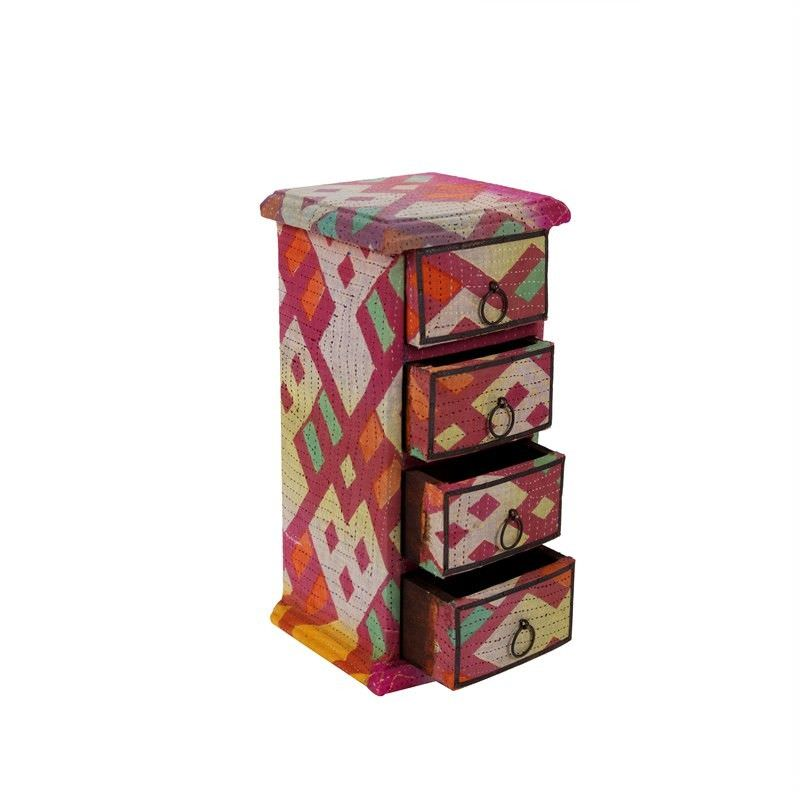 Vertical 4 Draw Wood and Fabric Box- L: 15cm W:14cm  H:30cm
