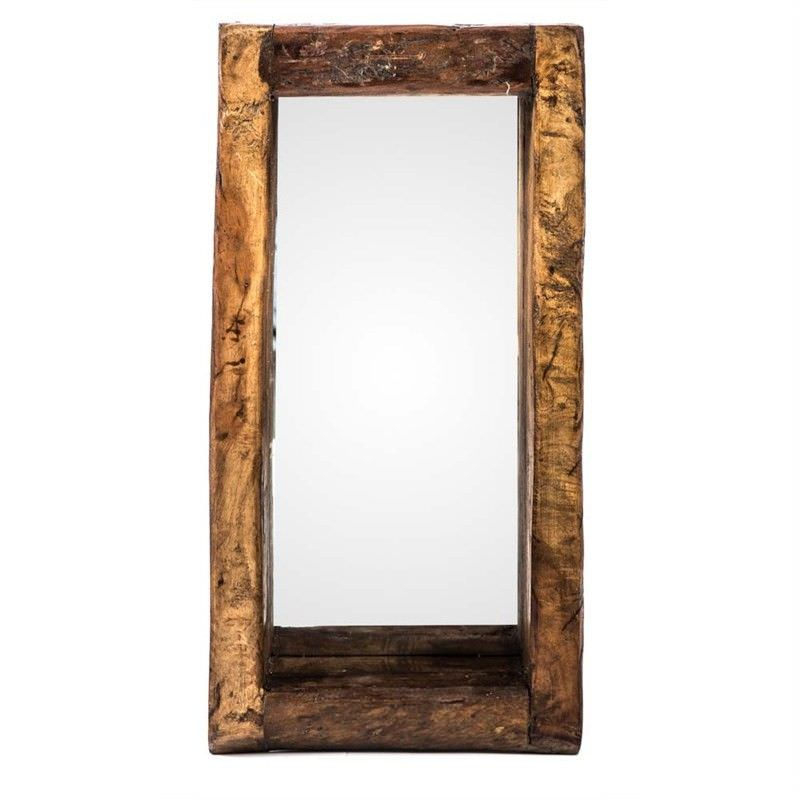 50cm Recycled Wood Oil Pot Wall Mirror