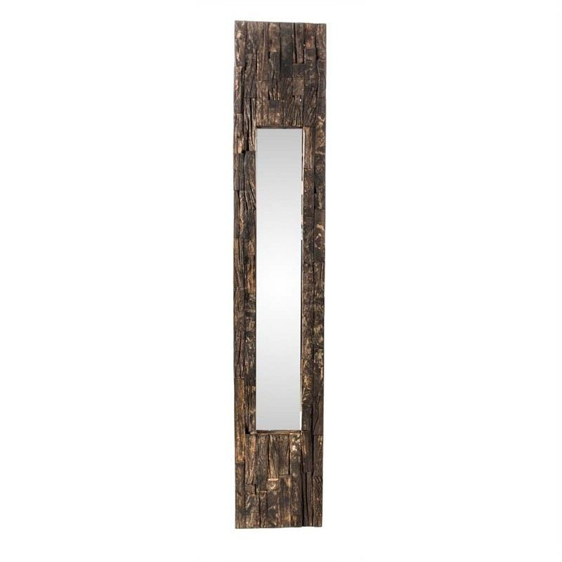 Aligarh Recycled Timber Slim Frame Wall Mirror - Small