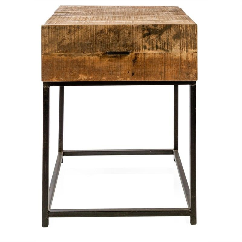 Manhattan Solid Mango Wood Timber and Steel Single Drawer Side Table
