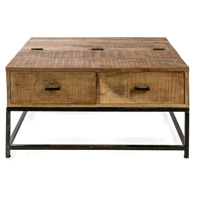 Manhattan 91cm Solid Mango Wood Timber and Steel 2 Drawer Coffee Table