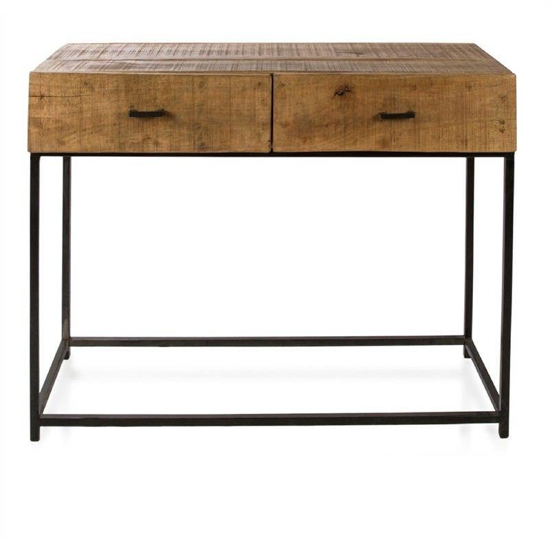 Manhattan Solid Mango Wood Timber and Steel 2 Drawer Console Table