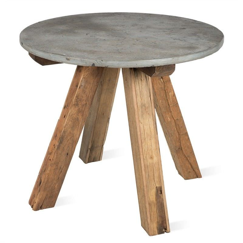 Cape Cod Stone & Reclaimed Timber Round Dining Table, Round, 100cm, Grey