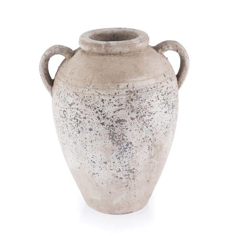 Stetson Ceramic Urn Vase, Large, Distressed Light Grey