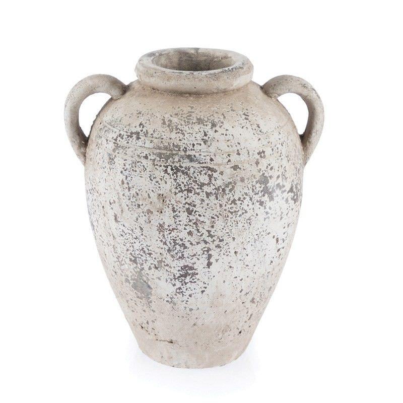 Stetson Ceramic Urn Vase, Small, Distressed Light Grey