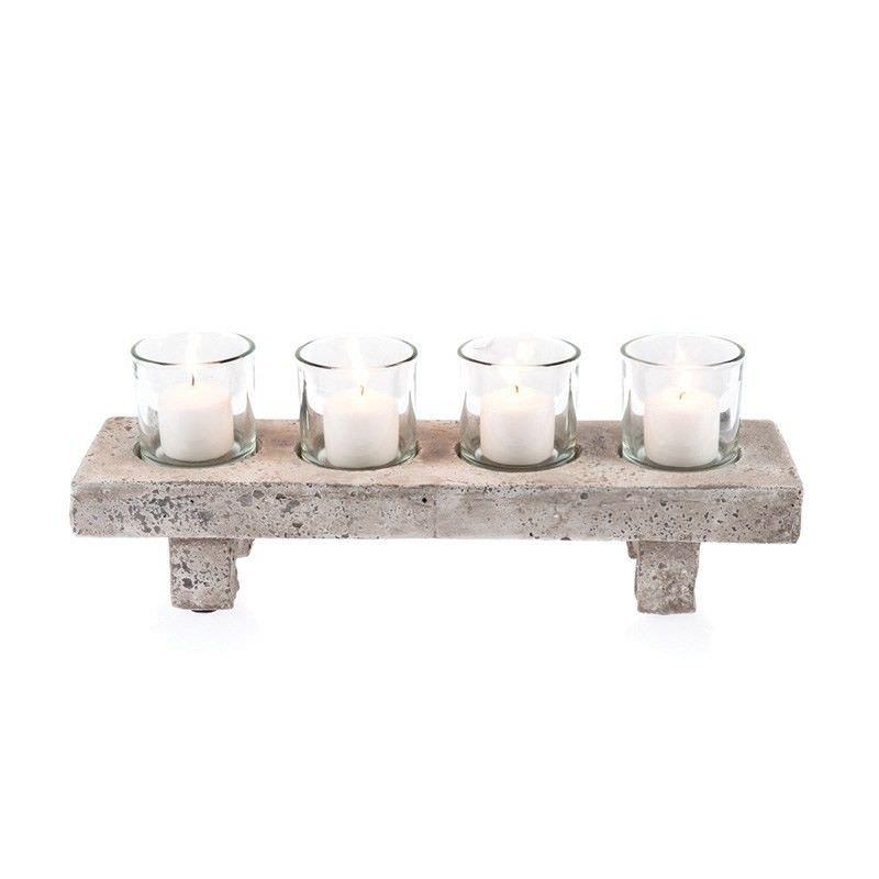Stetson Ceramic & Glass 5 Piece Tealight Set, Distressed Light Grey