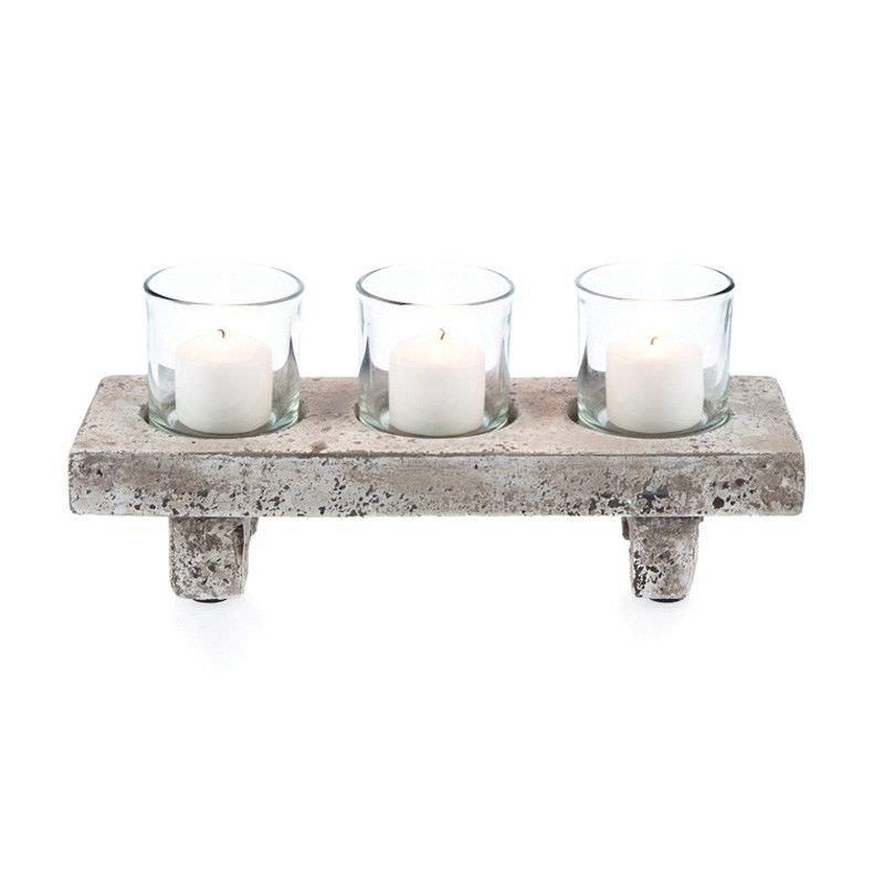 Stetson Ceramic & Glass 4 Piece Tealight Set, Distressed Light Grey