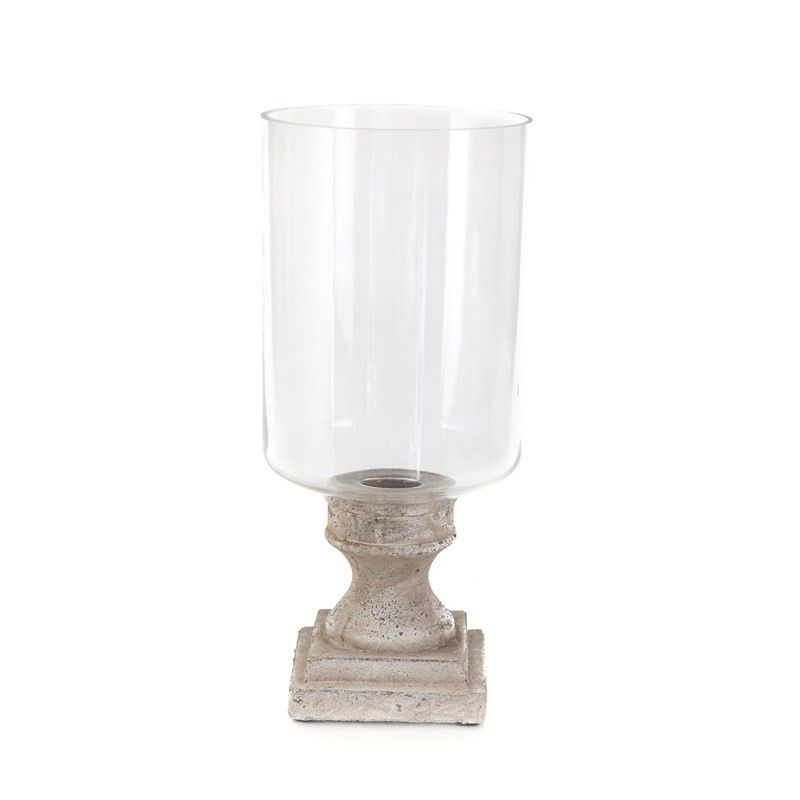 Stetson Ceramic Hurricane Lamp on Stand, Large, Distressed Light Grey