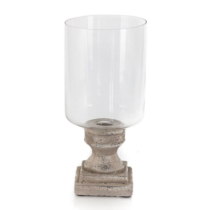 Stetson Ceramic Hurricane Lamp on Stand, Medium, Distressed Light Grey