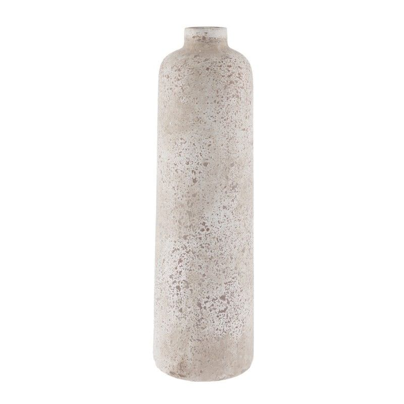 Stetson Ceramic Slim Bottle Vase, Medium, Distressed Light Grey