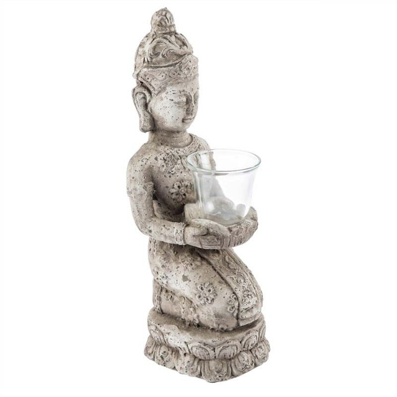 Stetson Ceramic Kneeling Buddha Candle Holder, Distressed Light Grey