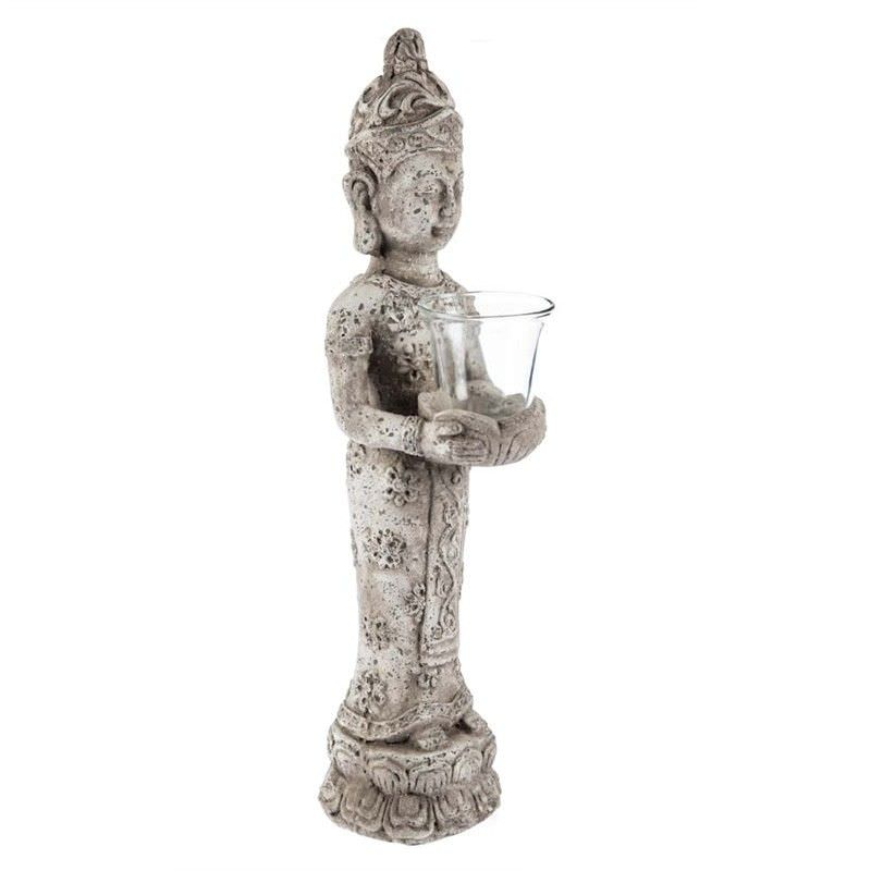 Stetson Ceramic Standing Buddha Candle Holder, Distressed Light Grey