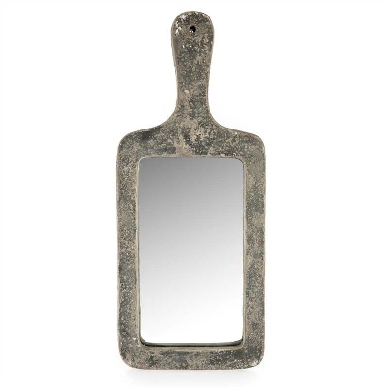 Stetson Ceramic Wall Mirror with Handle, 60cm, Distressed Dark Grey
