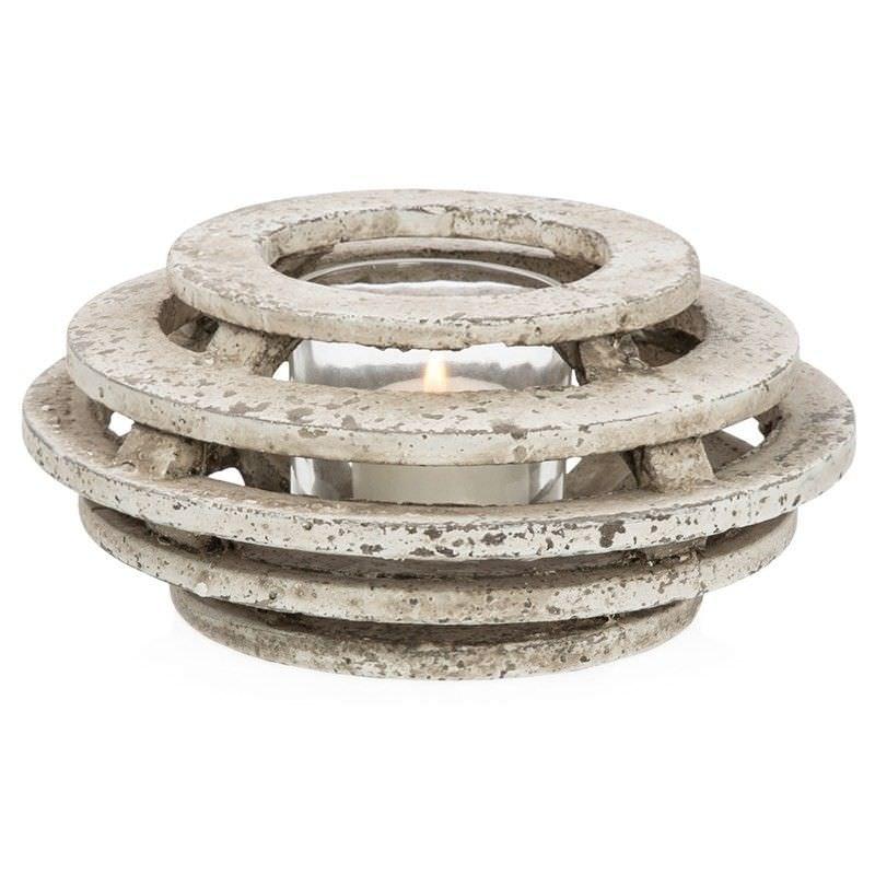 Palmira Cement Shuttered Tealight Lantern, Medium, Dirty White