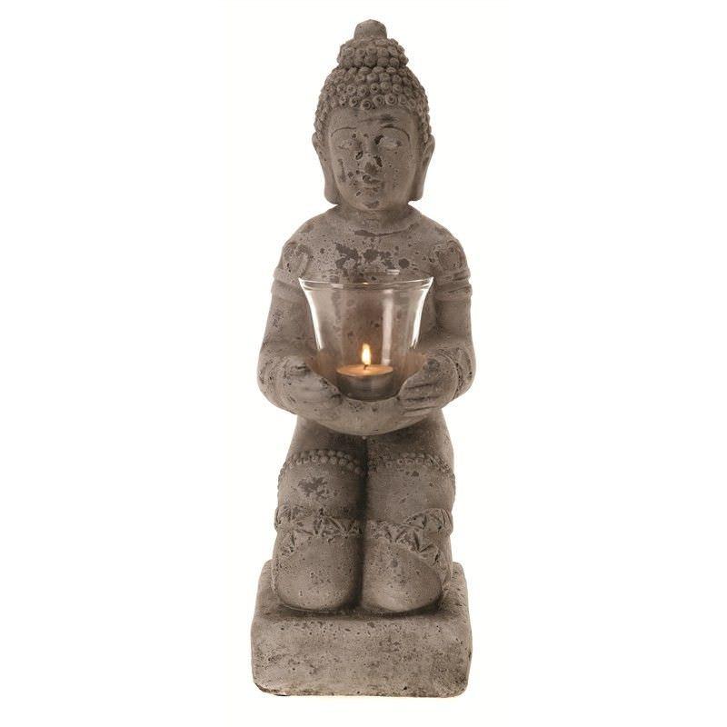 Sully Terracotta Kneeling Buddha Tealight Holder, Distressed Grey
