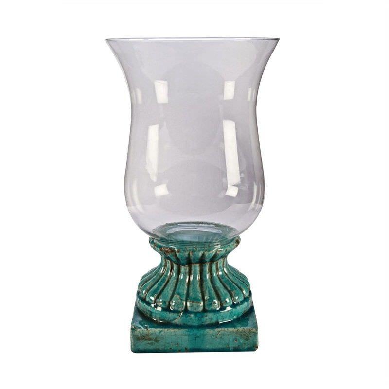 Hurrican Lamp - (L) -Aqua - 22.5x22.5x40.5cm