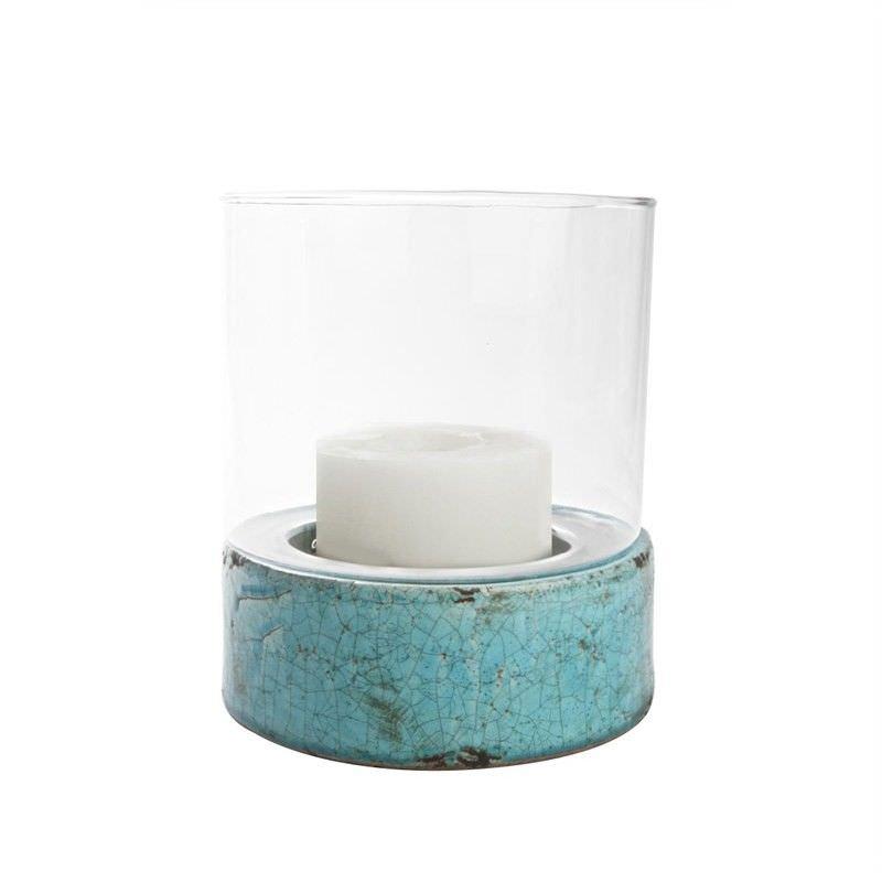 Cylinder Hurricane Lamp (L) - Aqua - 22.5x22.5x27.5cm