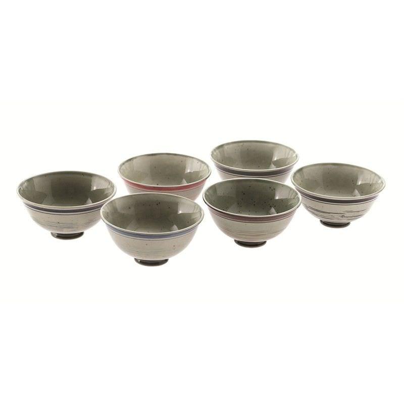 Set of 6 Satin Banded Glazed Ceramic Bowls in Gift Box