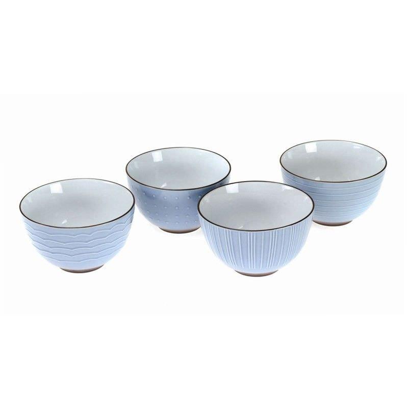 Kyomizu Ceramic 4 Piece Rice Bowl Set, Blue