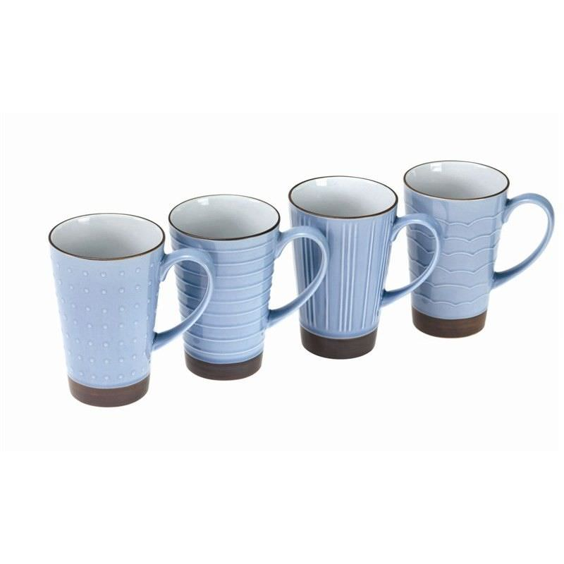 Kyomizu Ceramic 4 Piece Mug Set, Blue