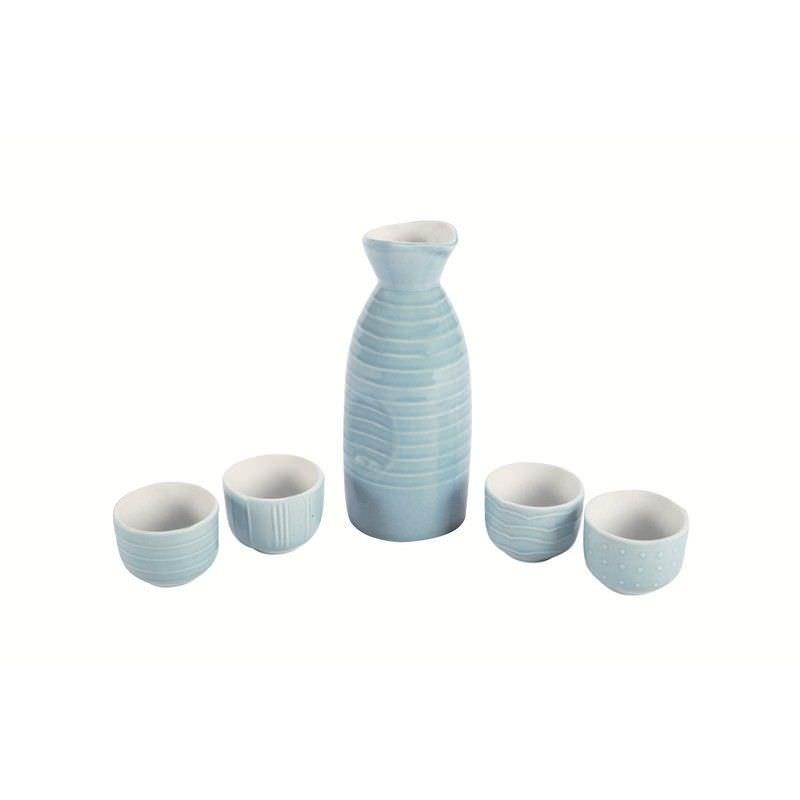 Kyomizu Ceramic 5 Piece Sakei Set, Blue