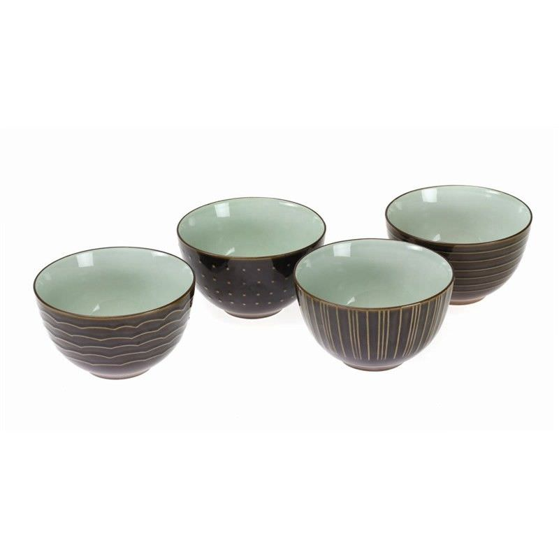 Kyomizu Ceramic 4 Piece Rice Bowl Set, Charcoal