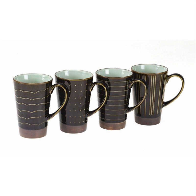 Kyomizu Ceramic 4 Piece Mug Set, Charcaol