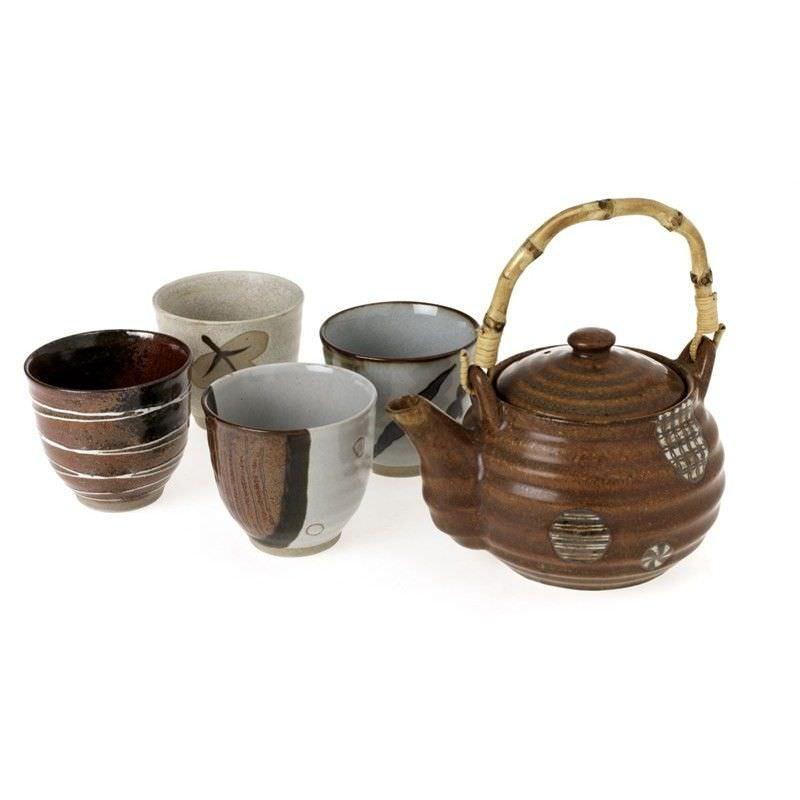 5 Piece Tea Set - Brown