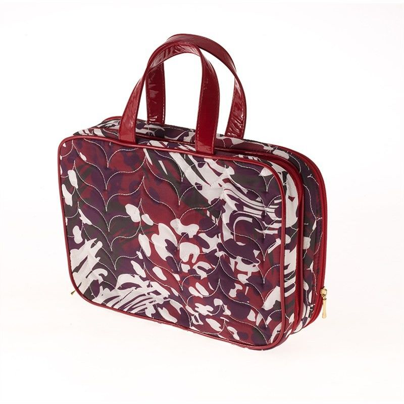 Red Animal Swirl Large Cosmetic Case
