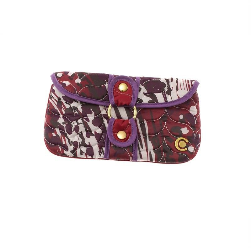 Red Animal Swirl Wrap Around Clutch Cosmetic Case