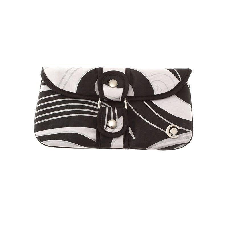 Black Swirl Wrap Around Clutch Cosmetic Case