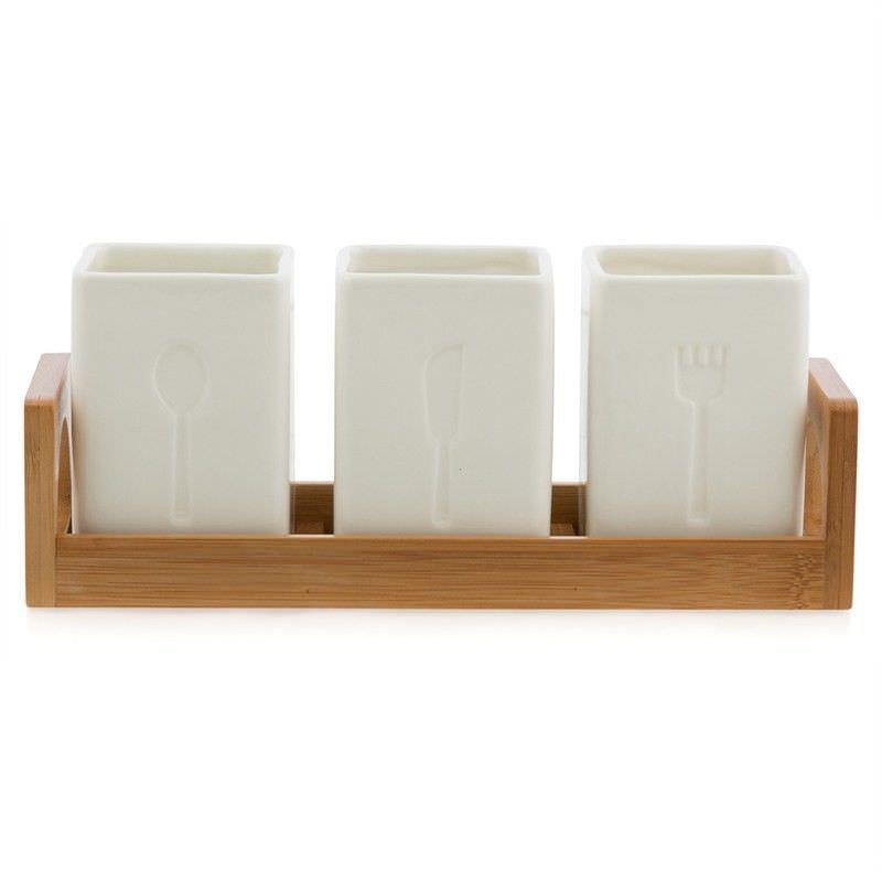Bali 4 Piece Porcelain Cutlery Holder Set