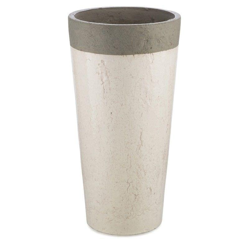 Akker Cement and Ceramic Pot Vase, Medium, Antique White