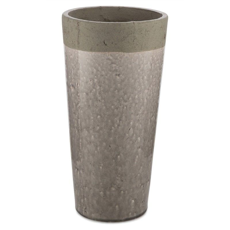 Akker Cement and Ceramic Pot Vase, Large, Charcoal
