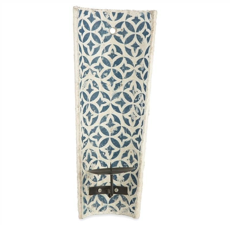 Milawa Ceramic Wall Mount Candle Holder, Blue