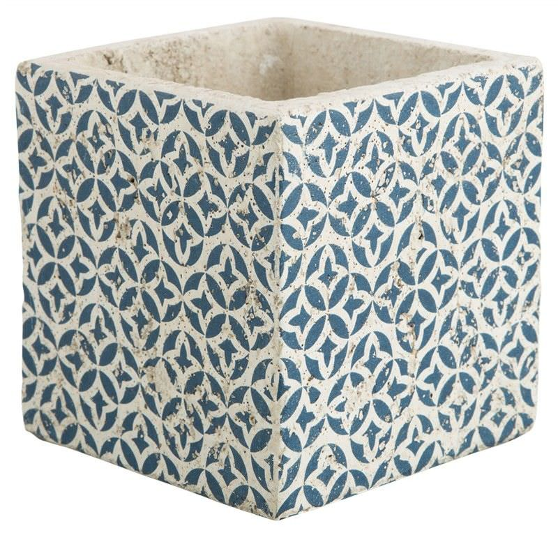 Milawa Ceramic Square Planter, Small, Blue