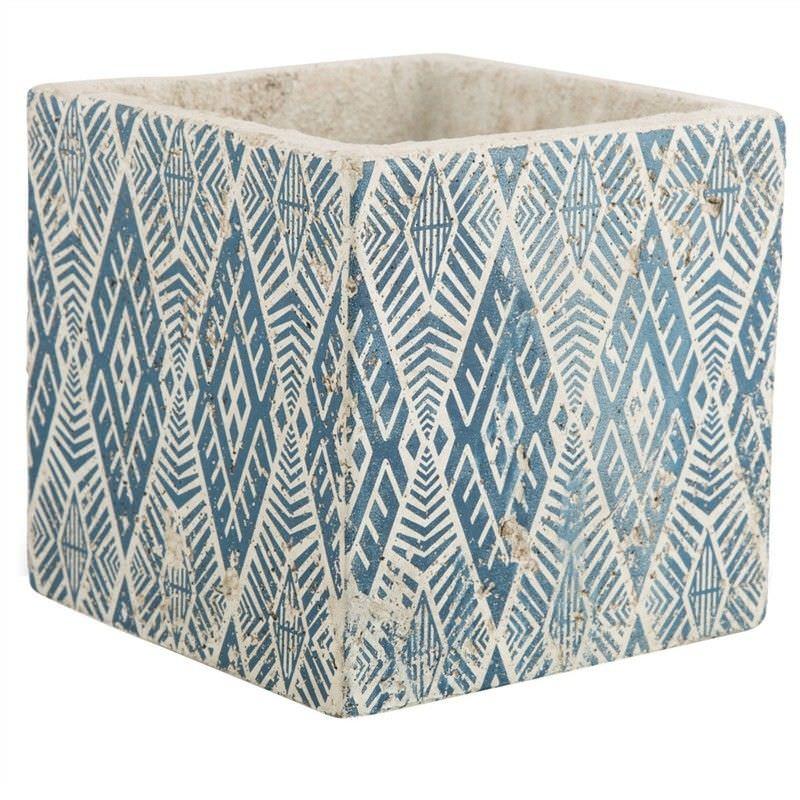 Milawa Ceramic Square Planter, Large, Blue