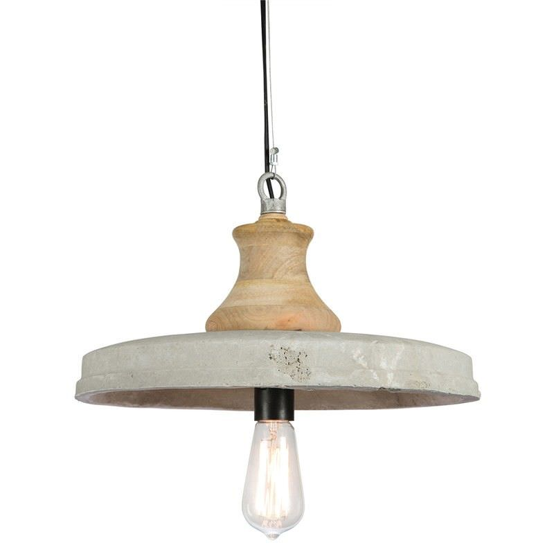 Bailey Solid Timber and Concrete Pendant Light