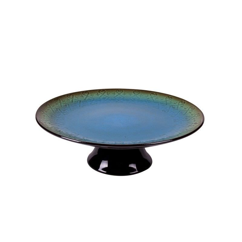 Marakesh 29cm Cake Plate with Foot in Blue Green
