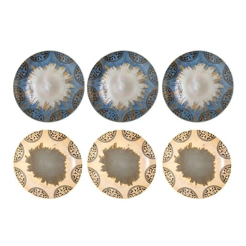 Set of 6 Round Tunis Stoneware Plates - 28cm