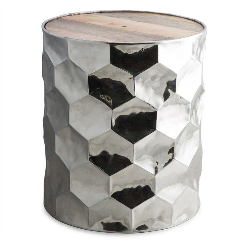 Brosa Timber Top Hammered Aluminium Decor Stool / Side Table
