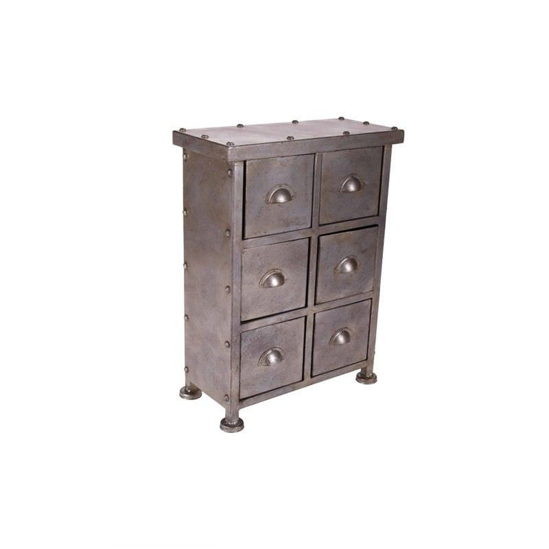 6-Drawer Metal Cabinet - Antique Grey