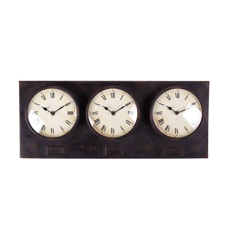 Metal Triple Clock - Antique Brown