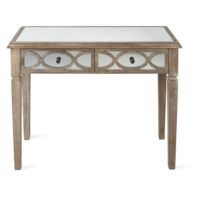 Rosehill Wooden Lattice Mirrored 2 Drawer Console Table