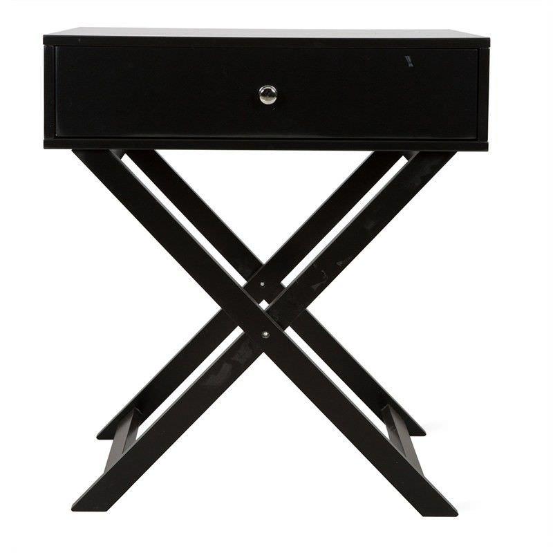 Arsenel Single Drawer Crisscross Side Table - Black