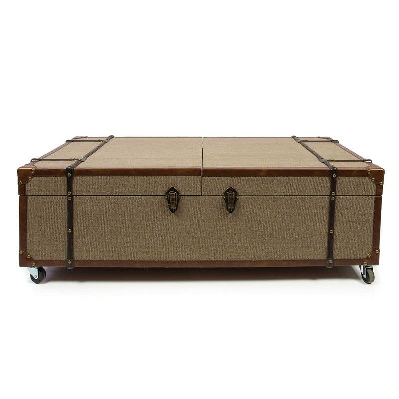 Loft Timber and Linen Coffee Table with Liquor Storage and Wheels